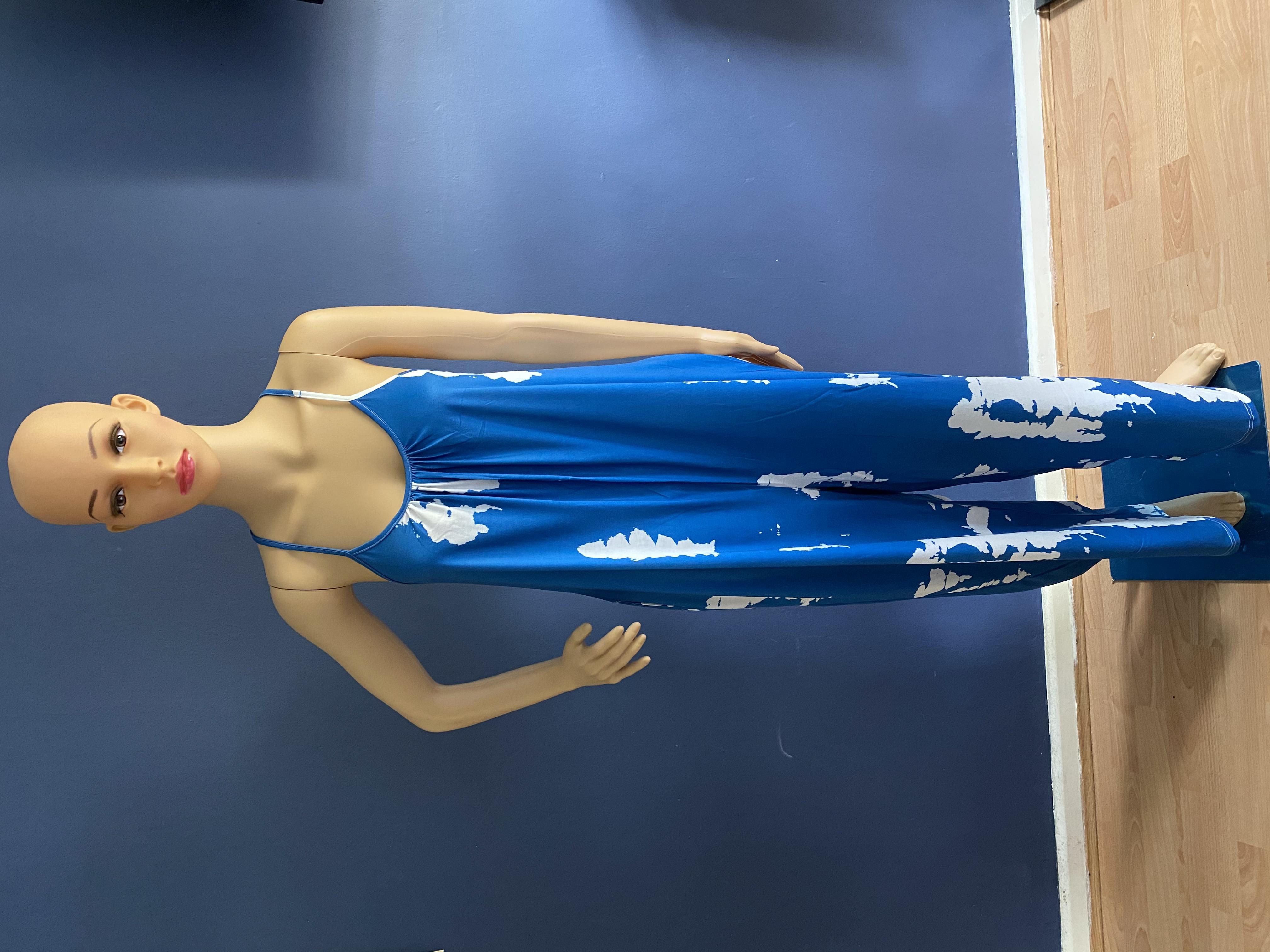 Blue tie dye strap jumpsuit sizes medium large and extra large